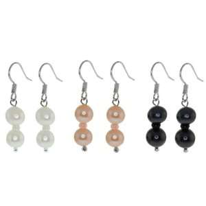 White and Pink Freshwater Pearl Drop Fish Hook Earrings 7 8mm Jewelry