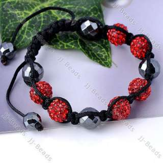 1pc New Faceted Hematite Red Crystal Disco Pave Ball Woven Bracelet 10