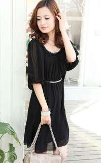 Fashion Women Batwing Short Sleeve Round Neck Chiffon Mini Dress 5