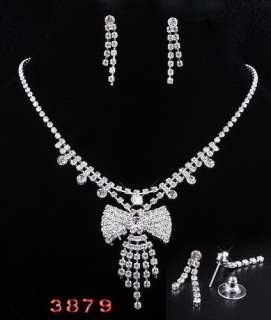 6Styles Wedding Jewelry Necklaces Earrings set Inlay Czech Rhinestone