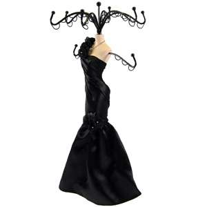 Black Rose One Shoulder Doll Jewelry Stand Tree Mannequin Evening Gown