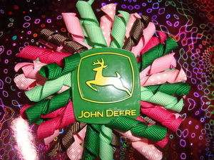 TODDLER GIRL JOHN DEERE TRACTOR KORKER HAIR BOW