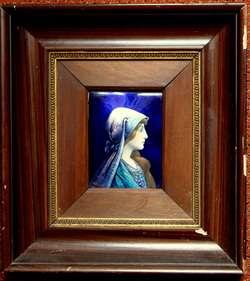 ANTIQUE Art Nouveau LIMOGES Enamelled Copper Plaque LADY Signed
