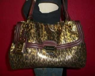 MAKOWSKY Larger Leopard Print Gold & Brown Leather Satchel Shoulder