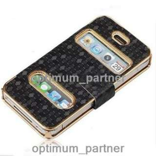 Leather Magnetic Flip Chrome Fashion Case Cover for iPhone 4 4S