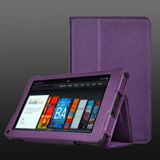 Kindle Fire Tablet Ebook 8GB WIFI Purple Leather PU 7in Cover Case