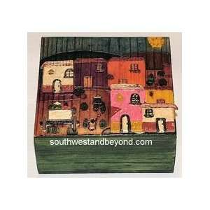 Folk Art Mexican Folk Art Bark Paintings and Pyrography Tiled Wood Art