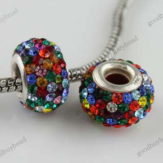 CRYSTAL AUTHENTIC 925 STERLING SILVER EUROPEAN BIG HOLE CHARM BEAD