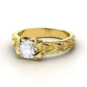 Rose and Thorn Ring, Round White Sapphire 14K Yellow Gold
