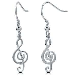 Plain Sterling Silver Treble Clef Music Note Fish Hook Dangle Earrings