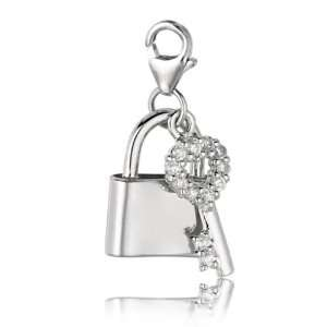 Sterling Silver & Crystal clip on lock & key charm Jewelry