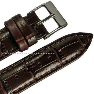 17mm Crocodile Grain Brown Swiss Leather Mens Watch Band Strap