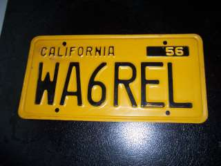 1956 California License Plate Vintage / Antique Yellow