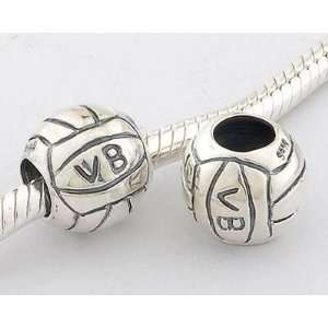 925 Sterling Silver European Style Antique Silver Volleyball Charms