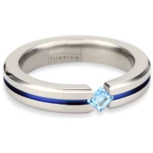 Womens Grey Titanium Princess Cut Blue Topaz with Blue