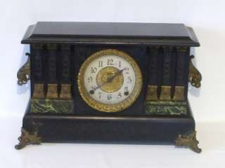 Antique Ingraham Black Mantel Shelf Clock Key Wind for Parts or