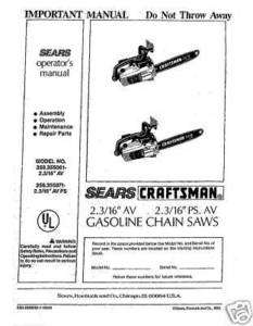 Craftsman Chain Saw Manuals Model # 358.355071