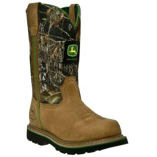 John Deere Steel Toe Mens Pull On Western Boots JD4348