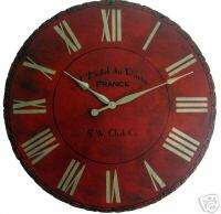 Large Wall Clock 24 Antique Red Paris Big Tuscan Gold