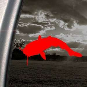Catfish Red Decal Fishing Car Truck Bumper Window Red