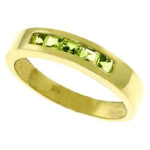 Genuine Channel Set Princess Peridot 14k Gold Ring