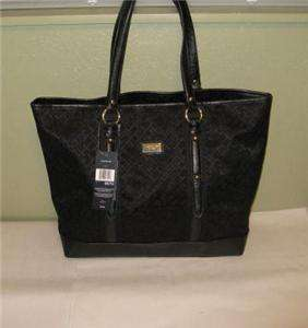 Tommy Hilfiger Womens Large Tote Purse Shopper Handbag Black Monogram