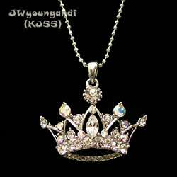 Rhinestone Crown Necklace Pendant Children Kids Crystal Beads Silver
