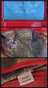 CARLOS FALCHI Red crinkle patent leather satchel shoulder bag tote USA