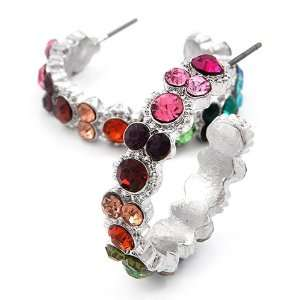Silvertone Multi Colored Rhinestone Hoop Fashion Earrings Jewelry
