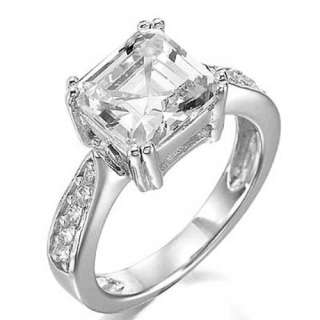 Cubic Zirconia Sterling Silver Womens Engagement Wedding Ring