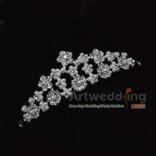 Pageant Sparkling Rhinestones Tiara Crystal Beading Pearl 9 HOT