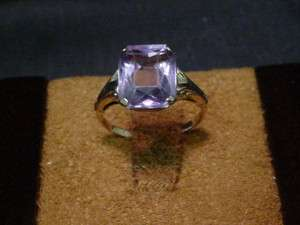 DEAD PAWN VINTAGE 10KT SOLID GOLD AMETHYST RING 2CTS +