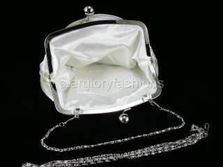 Charming Cream/Ivory Rose Satin Wedding Purse Clutch FEC 098156