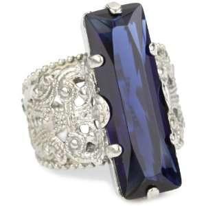 Sorrelli Emerald City Crystal Elongated Adjustable Silvertone Ring