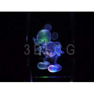 Disney Mickey Mouse Classic 3D Laser Etched Crystal S2