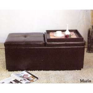 Espresso Finish Ottoman Bedroom Bench with Storage and
