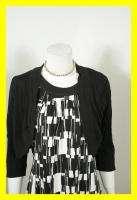 NEW JESSICA HOWARD Black & White Print Sheath Dress w/ Sweater 14 NWT