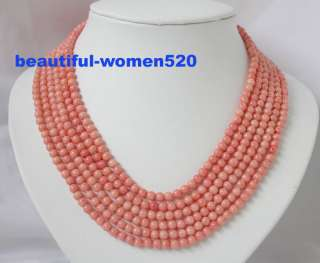 Elegant 6strands pink coral necklace silver clasp