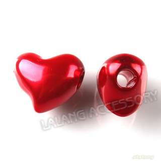 Wholesale Red Heart European Charms Plastic Beads Fit Bracelets