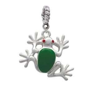Large Green Enamel Tree Frog Charm Dangle Pendant Arts