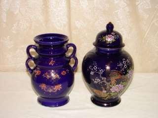 Vintage 2 Porcelain Hand Painted Blue Vase Peacock Urn Made In Japan