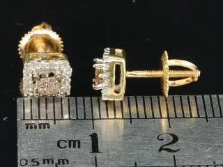 GOLD BROWN PRINCESS CUT CHOCOLATE DIAMOND EARRINGS STUDS .30CT