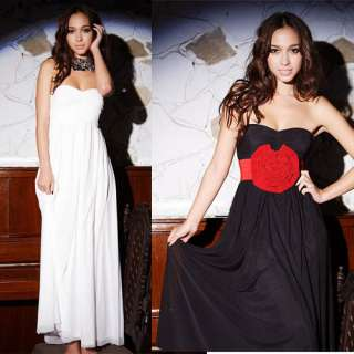 WHite Women Off Shoulder Strapless Long Dress Cocktail Evening Party