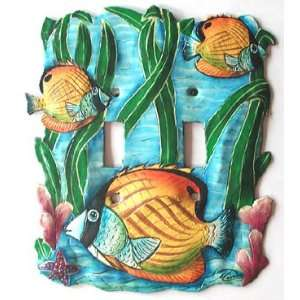 School of Tropical Fish   Double Light Switchplate Cover   Handcrafted