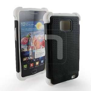 Dual Layer Black Hard Rubber + White Silicone Skin Case 2PC Cover for