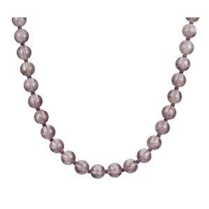 Amethyst Single Strand Necklace with Gold Plated Silver Clasp Jewelry