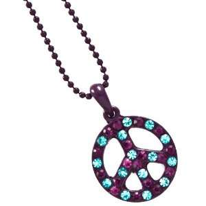 Gorgeous Purple Round Crystal Peace Sign Pendant Necklace Jewelry
