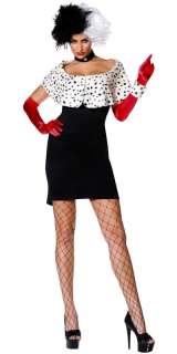 Evil madame cruella de ville ladies fancy dress costume 5020570053980