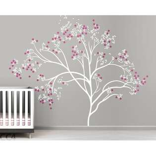 Studio Blossom Tree Extra Large Wall Decal   Color White / Hot Pink