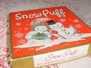 new CHRISTMAS CARDS w Box FOAM SNOWY snowflakes gold gilt 1950s
